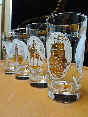 4 Vintage 1960s Libbey Glass Tumblers Andrew Jackson, Perry's Flagship
