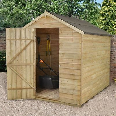 8x6 PRESSURE TREATED WINDOWLESS WOODEN APEX GARDEN SHED 8ft x 6ft NO WINDOWS NEW