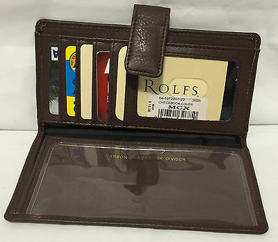 Rolfs Brown Leather Checkbook Cover Wallet Snap Closure 5 Card Slots 1 ID Window