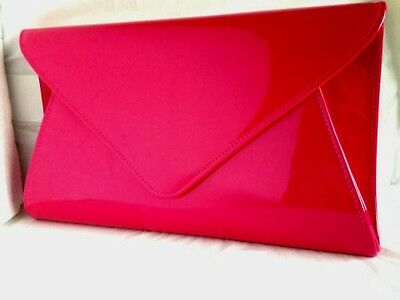 New Fuschia Pink Faux Patent Leather Evening Day Clutch Bag Club Prom Shoulder