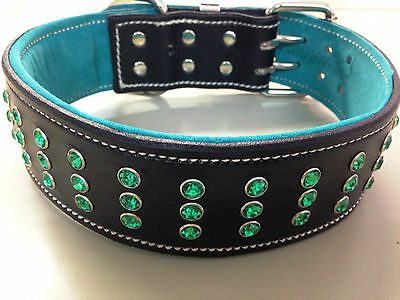 Large Black Leather Dog Collar with Green Suede Inner Lining & Green Crystals