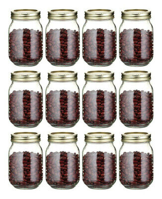 Set of 12 x Medium 500ml .5Ltr Wide Mouth Glass Storage Preserve Preserving Jars