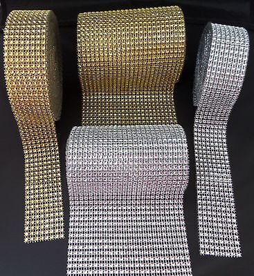 8  / 24 Row Gold Silver Sparkle Rhinestone Wedding Decoration Ribbon