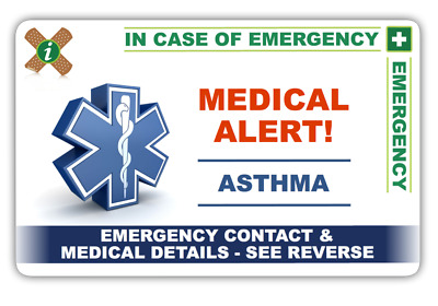 ASTHMA Emergency Contact Card and 2 Keyring Set