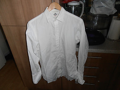 """Vtg Hawes & Curtis White  Formal Shirt size 15 1/2"""" Fly Front"""