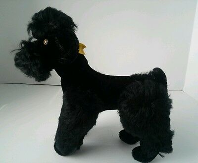 Steiff Vintage Black Poodle Dog Jointed 5322 Mohair With Tag/Pin Germany 22 cm