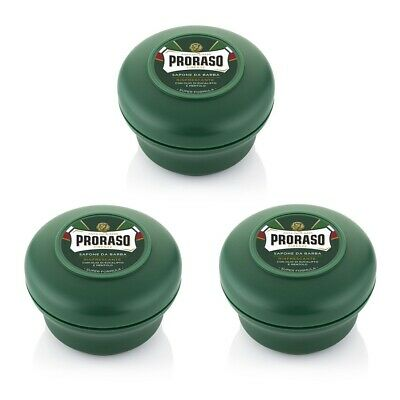 3 Pack - Proraso shaving soap cream 150ml green bowl with Menthol and Eucalyptus