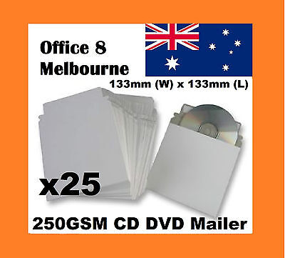 BRAND NEW 25 x CD DVD Mailer Sleeve Envelope 250GSM w/ Adhesive Seal Strip 133mm