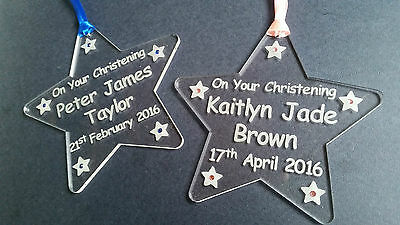 Hand made acrylic engraved Christening star keepsake gift personalised
