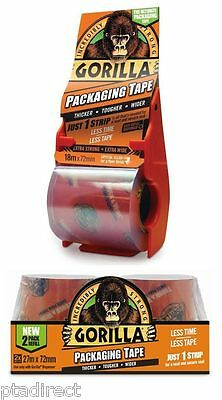 Gorilla Packaging Tape: Clear 72mm wide x 18m or 32m + Dispenser or 27m Refill