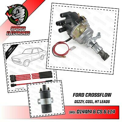 Ford X Flow Lotus Twincam electronic distributor sports coil & Red HT leads