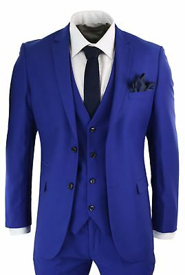 Mens Complete 5 Piece Royal Blue Formal Suit Tailored Fit Wedding Prom Party