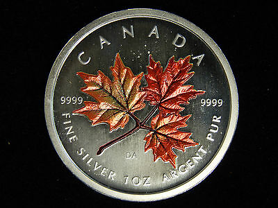 2001 Canada 5 Dollars Autumn Red Maple Leaf -  1 ozT.9999 Pure Fine Silver