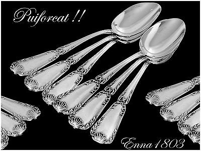 "PUIFORCAT Antique French Sterling Silver Spoons Set 6 pc Pompadour 5""6"