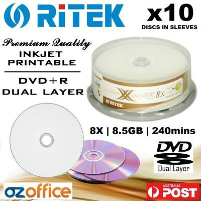 BRAND NEW 10 x Ritek / Ridata DVD+R DL 8.5GB Dual Layer 8X Blank DVD Printable