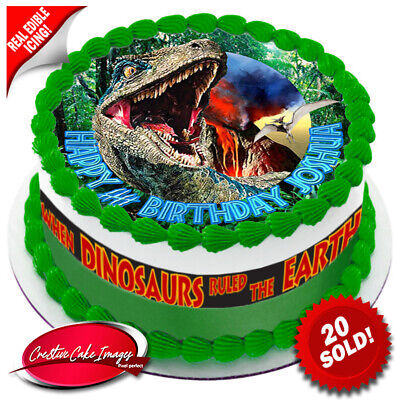 Velociraptor Jurassic World Cake Topper Image Edible Icing Birthday Decoration