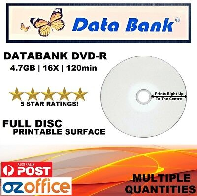A+ Grade Data Bank DVD-R Full Inkjet Printable Blank DVD Discs Media 4.7GB 16X
