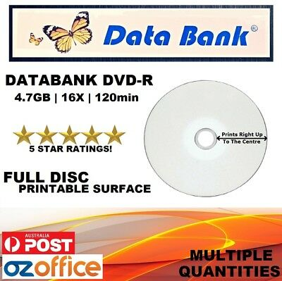 BRAND NEW Data Bank DVD -R 16x Inkjet Printable Blank Databank DVD 1 10 100 600