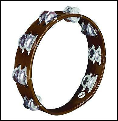 Meinl Percussion TA2A-AB Traditional 10-Inch Wood Tambourine Double Row Jingles