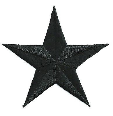 """Star - Black - GENEROUS 3"""" Embroidered Iron On Patch"""