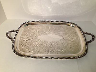 Etched Silverplate on Copper Butlers Gallery Tray by ART S CO SPC #165  20x12