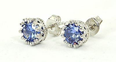 Tanzanite Treated  2.1ct 6mm Studs Earrings .925 Sterling Silver Classy