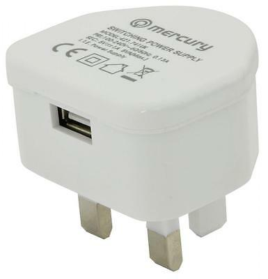 Mercury 421.741 Efficient Compact Mains Plug Usb Charger 1000ma Output White New