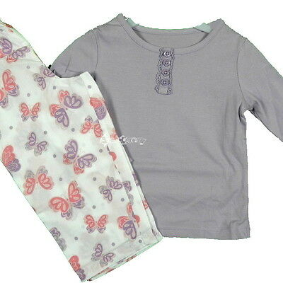 Girls Ex George Butterfly Long Sleeve Cotton Pyjamas Lilac White Ages 1-12 Years