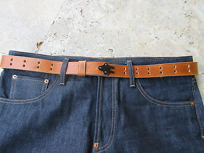 Lutece MFG Gun Hook Leather Belt Ledergürtel Vintage Style Rockabilly Nose Art