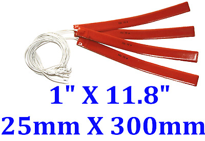 300 mm X 25 mm 12V 10W 3M Adhesive 4PCs Universal Silicone Heater Free Shipping