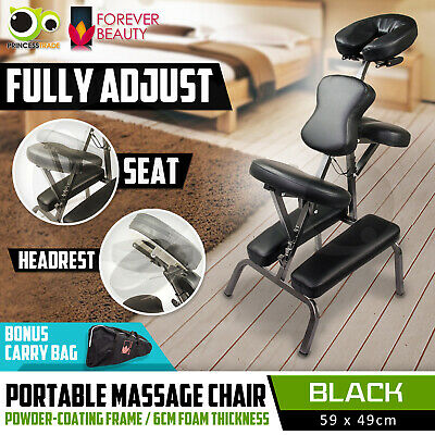 Aluminium Portable Massage Chair Beauty Therapy Bed Tattoo Waxing BLACK