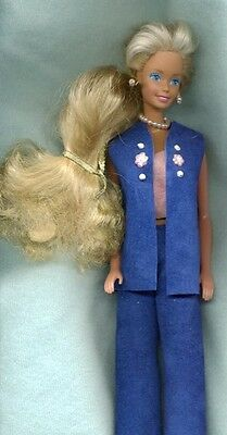 Barbie Doll W/ Clothes -3Pc Outfit- Blue & Pink Leather Pants Suit - Linhill