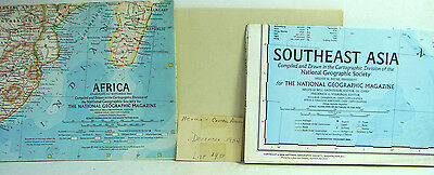 1930-60s lot of 3 National Geographic Magazine Maps Southeast Asia Africa Mexico
