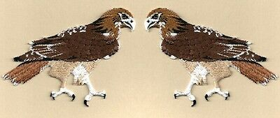 Hawk-Red Tailed  - Bird - Fully Embroidered Iron On Applique Patch - Set Of 2