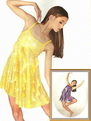 HERE I AM Lyrical Glitter Dress Dance Costume Yellow or Purple Child & Adult NEW