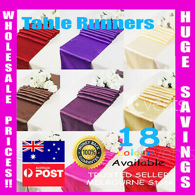 10 Satin Table Runners Sashes Cloth Chair Cover Wedding Event Black White Silver