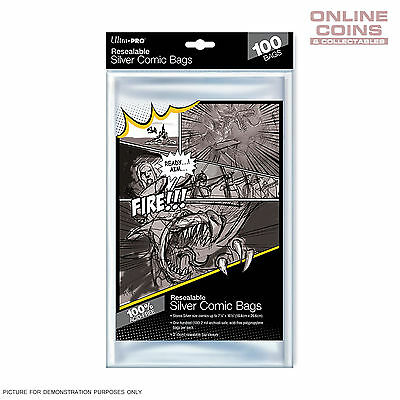 Ultra Pro RESEALABLE Acid Free Ultra Clear Silver Size Comic Bags x 100