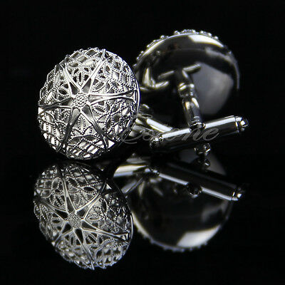 Vintage Silver Stainless Steel Men's Wedding Gift Hollow Out Pattern Cufflinks