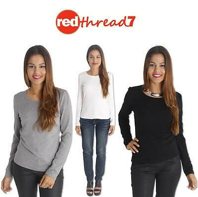 Womens Long Sleeve Top Thick Cotton Spandex Tee T-Shirt Black White Grey Size