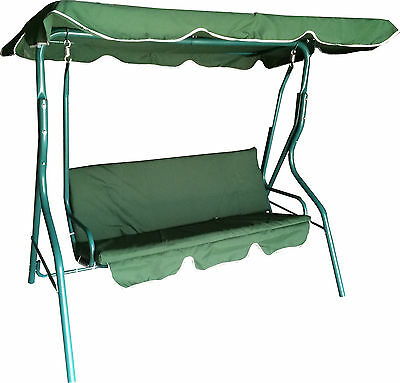 Green Outdoor Swinging Hammock 3 Seater Bench Seat Cushion Garden Lounger