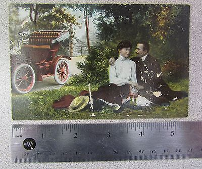 Antique / Vintage German Postcard (Early 1900s) - Car & Couple / Valentine's Day