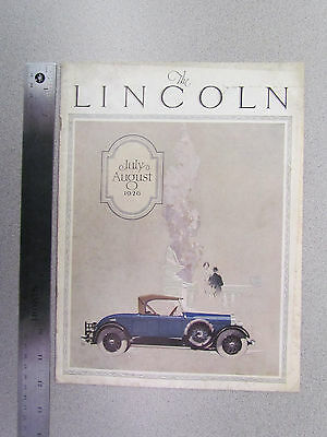 """1926 """"The Lincoln"""" (July / August Issue) Car Magazine / Sales Literature"""