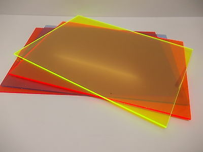 3 mm Fluorescent Perspex cast Acrylic Sheet, Size A5-A4-A3 Signs-Displays-Models