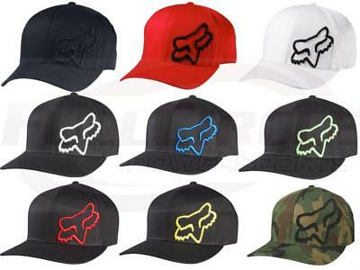 Fox Racing Mens Guys Flex 45 Hat Fox Head Logo Ball Cap Flexfit MX/ATV/BMX/MTB