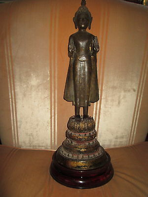 Antique  Thai  Buddha  Bronze  Standing,  Ayuthai  Period  1700-1760