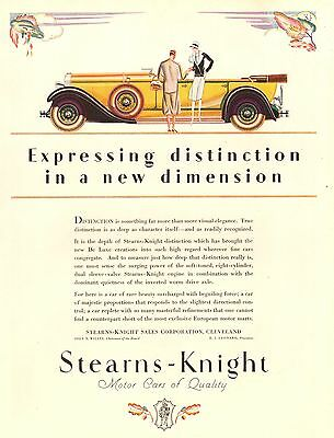 Pubblicita' 1928 Auto Lusso Stearns Knight Motor Car Of Quality Cleveland