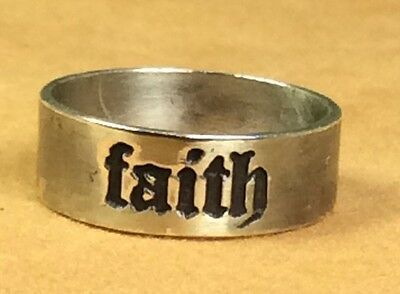 "Vintage 925 Fine Sterling Silver ""Faith"" Band Ring Size 7"