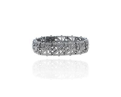Pave Diamond Silver with Yellow Gold Accent Bracelet