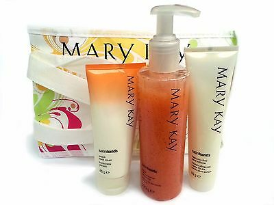 Mary Kay Satin Hands Softener Scrub Cream Peach Pampering Set Full Size Fresh!
