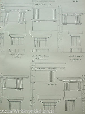 Antique Print C1880'S Civil Architecture Dorie Order No. 3 Engraving Diagram Art